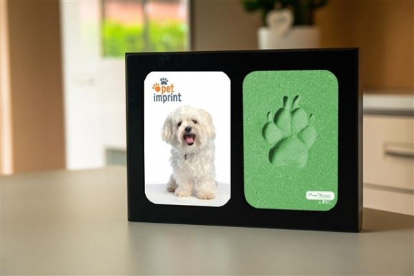 Holzbilderrahmen - schwarz- Pfotenabdruck grün